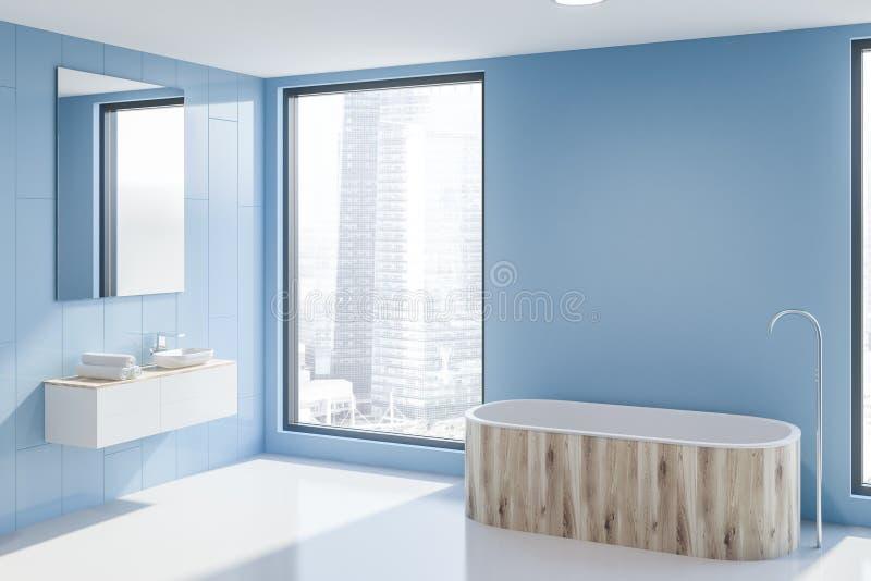 Раковина и ушат в голубом угле bathroom иллюстрация штока