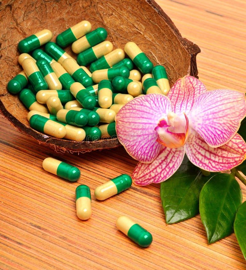 Раковина кокоса, капсулы, таблетки, цветок орхидеи стоковое фото rf