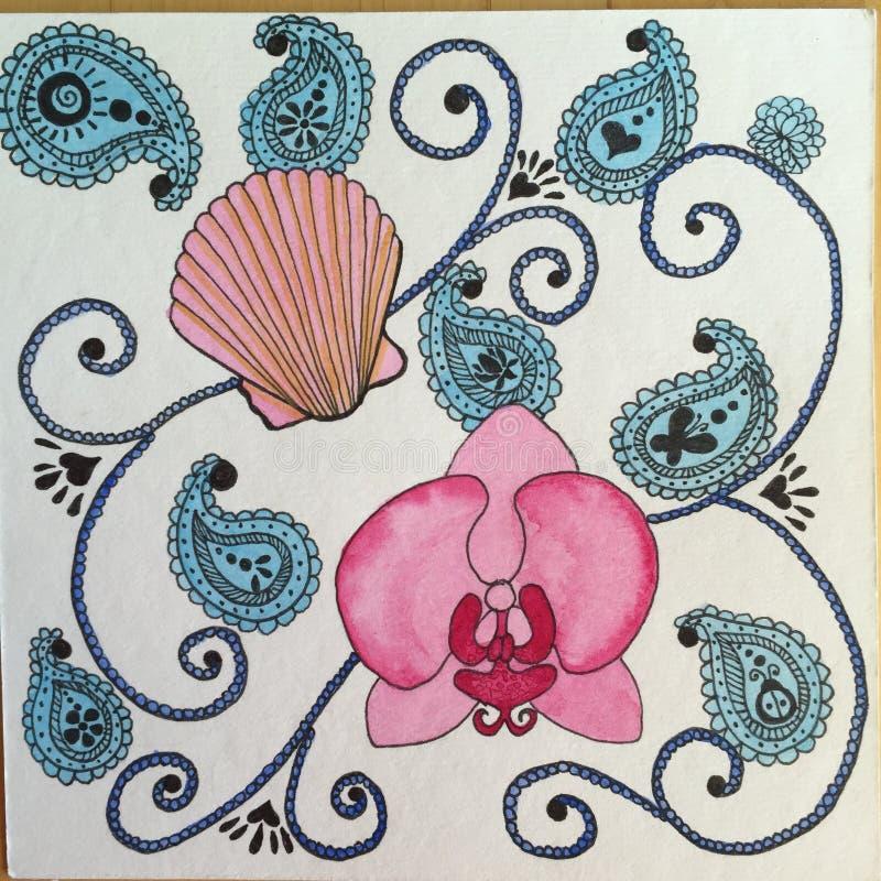 Раковина моря и картина акварели Zendoodle орхидеи иллюстрация штока