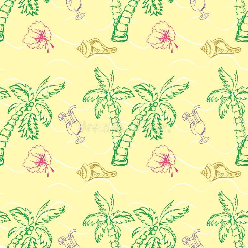 Раковина моря, картина пальмы безшовная иллюстрация вектора