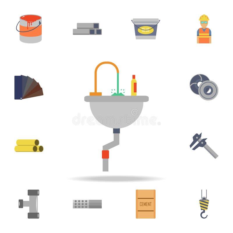 раковина цвета в значке bathroom Детальный набор инструментов конструкции цвета Наградной графический дизайн Один из значков собр иллюстрация вектора