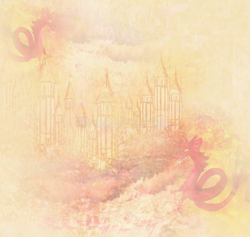 2 дракона атакуя замок бесплатная иллюстрация