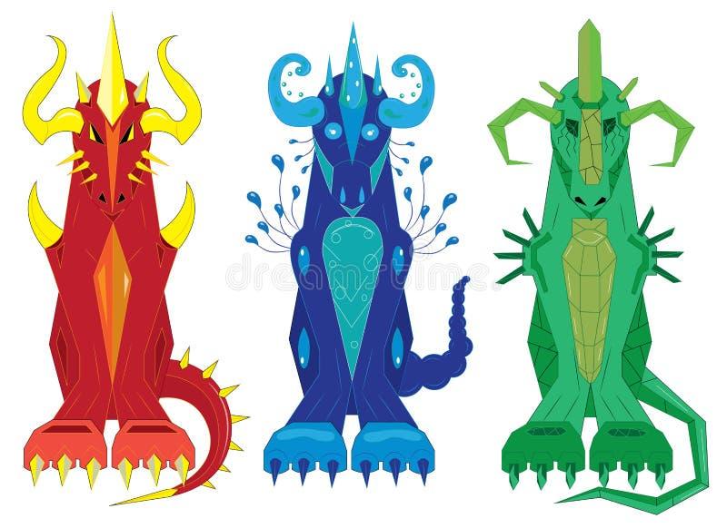 3 дракона тотема увольняют, мочат и облицовывают иллюстрация вектора