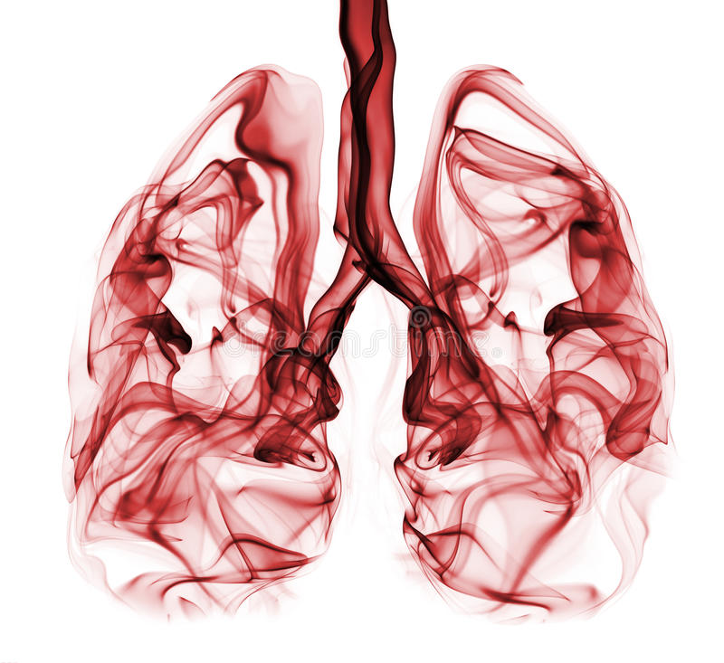 Рак легких проиллюстрированный как дым сформированный как легкие стоковые фото