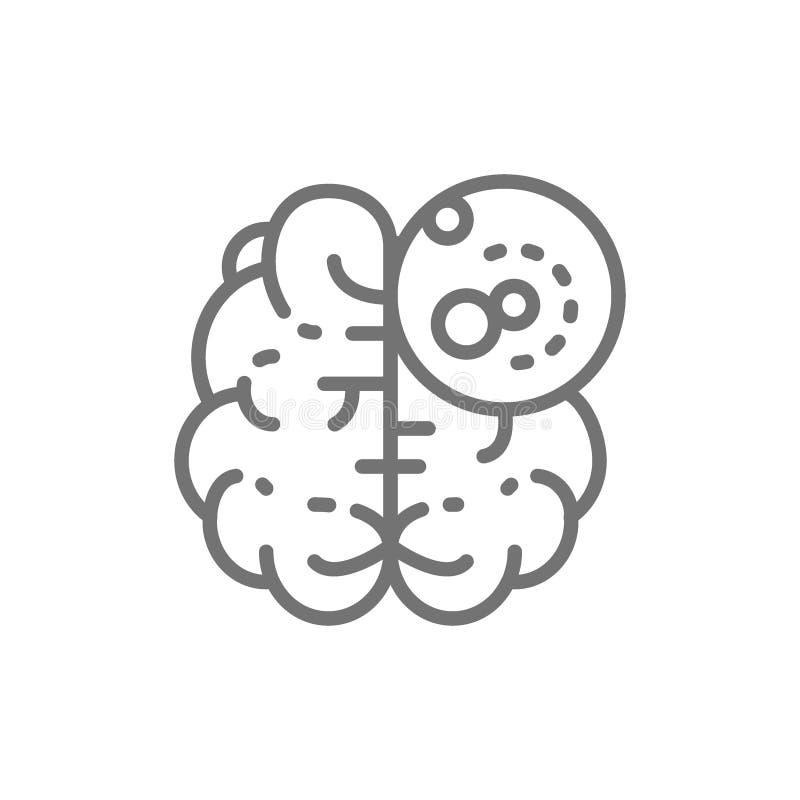 Рак мозга, злокачественная опухоль, линия значок онкологии бесплатная иллюстрация