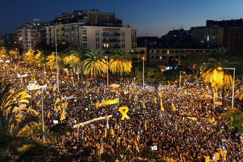 Ралли ночи для независимости Каталонии стоковое изображение rf