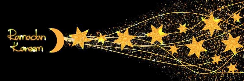 Рамазан 6 влияний знамени яркого блеска золота звезды иллюстрация вектора