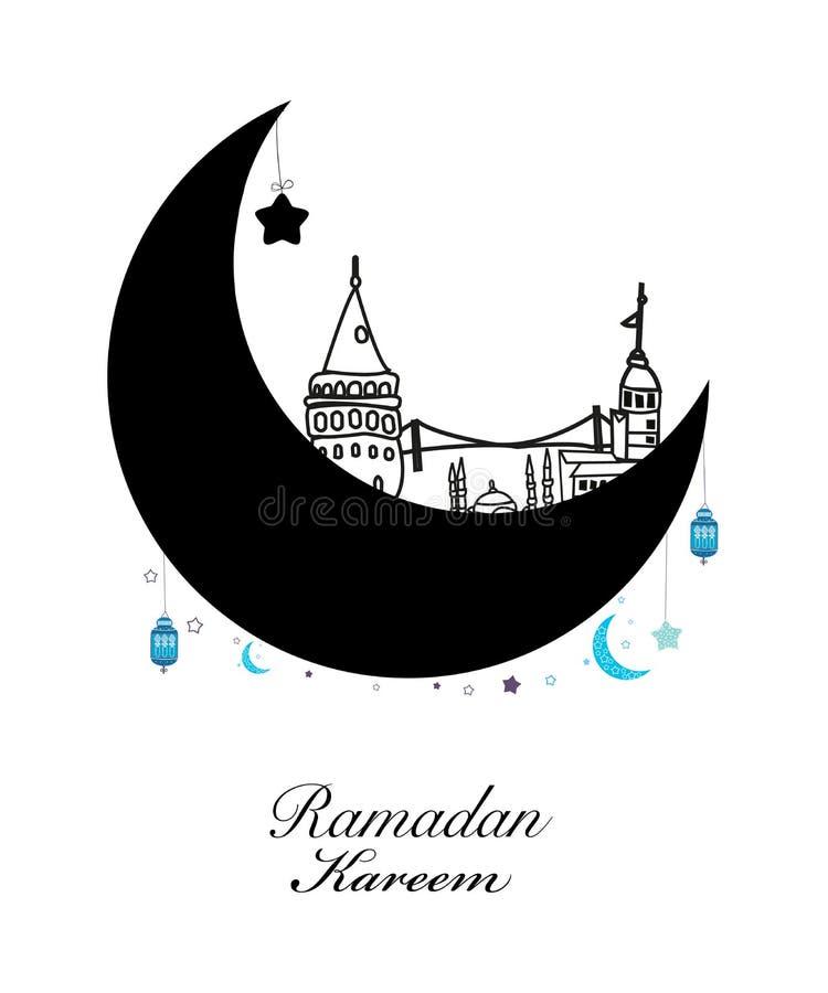 Рамазан Kareem с луной и звездой Фонарик ночи Рамазана Стамбула традиционный поздравительной открытки Рамазана бесплатная иллюстрация
