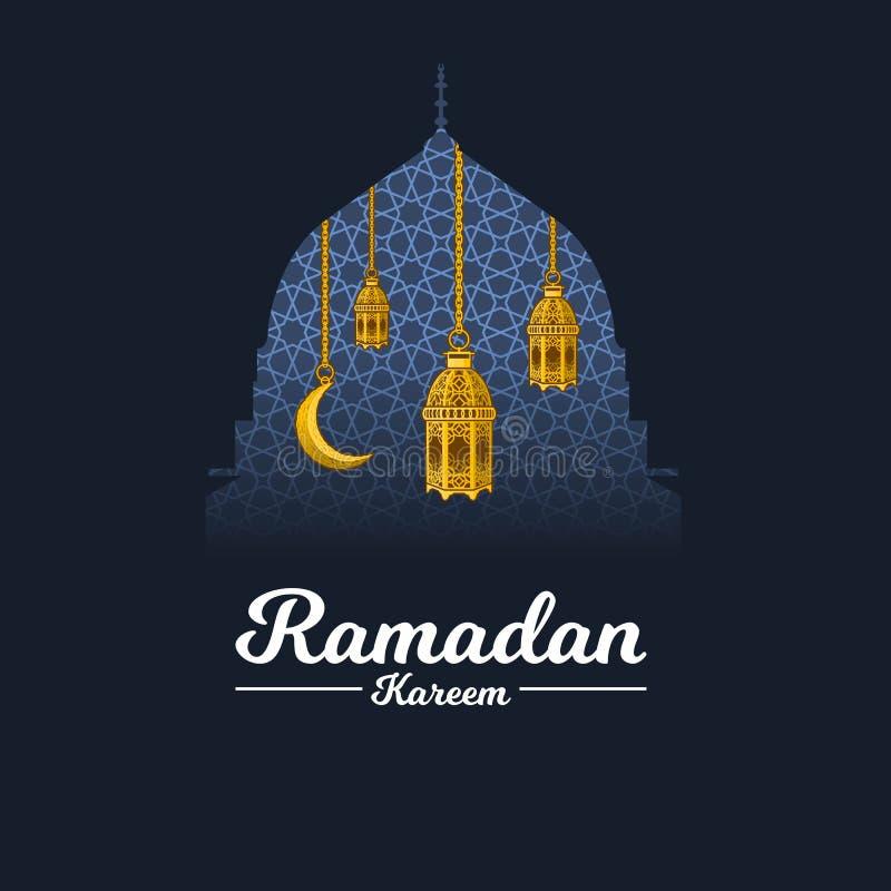 Рамазан Kareem с серповидными луной и фонариком на предпосылке геометрии, закрепляя маской с куполом мечети Мухаммеда пророка иллюстрация штока