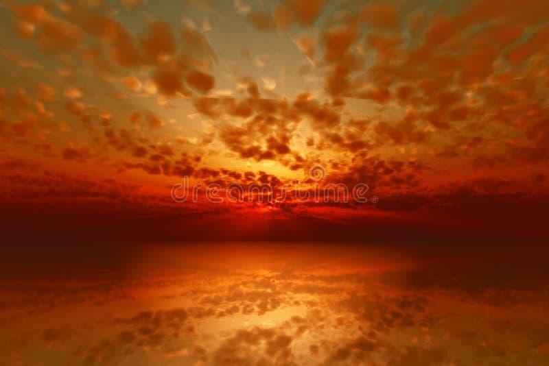 драматический красный заход солнца иллюстрация вектора