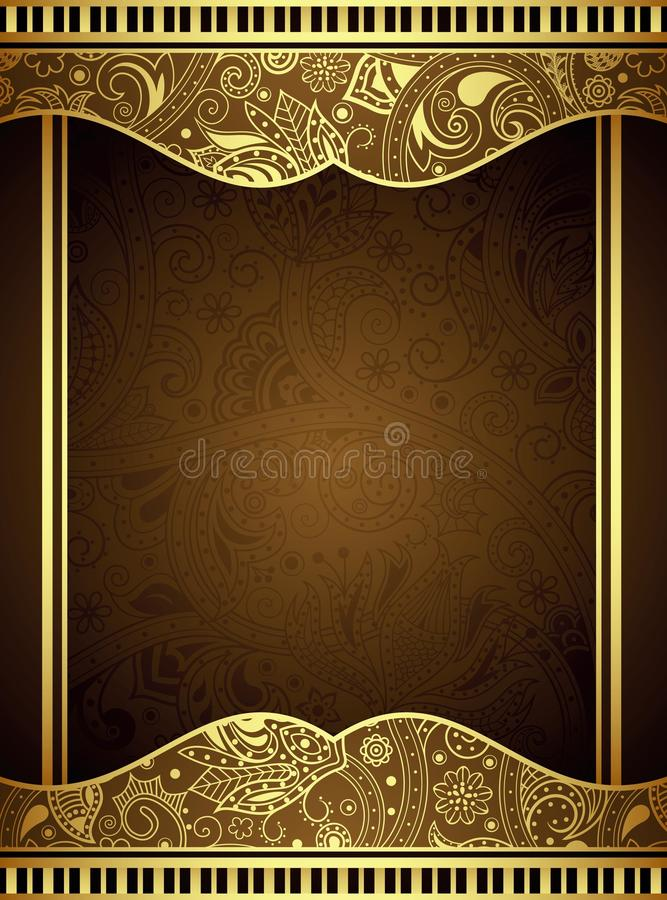 Рамка абстрактного золота флористическая иллюстрация вектора