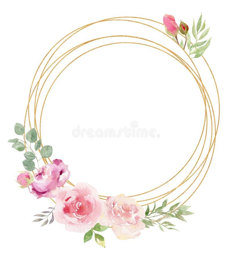 Рамка акварели золотая геометрическая украшенная с пионом флористических и роз иллюстрация штока