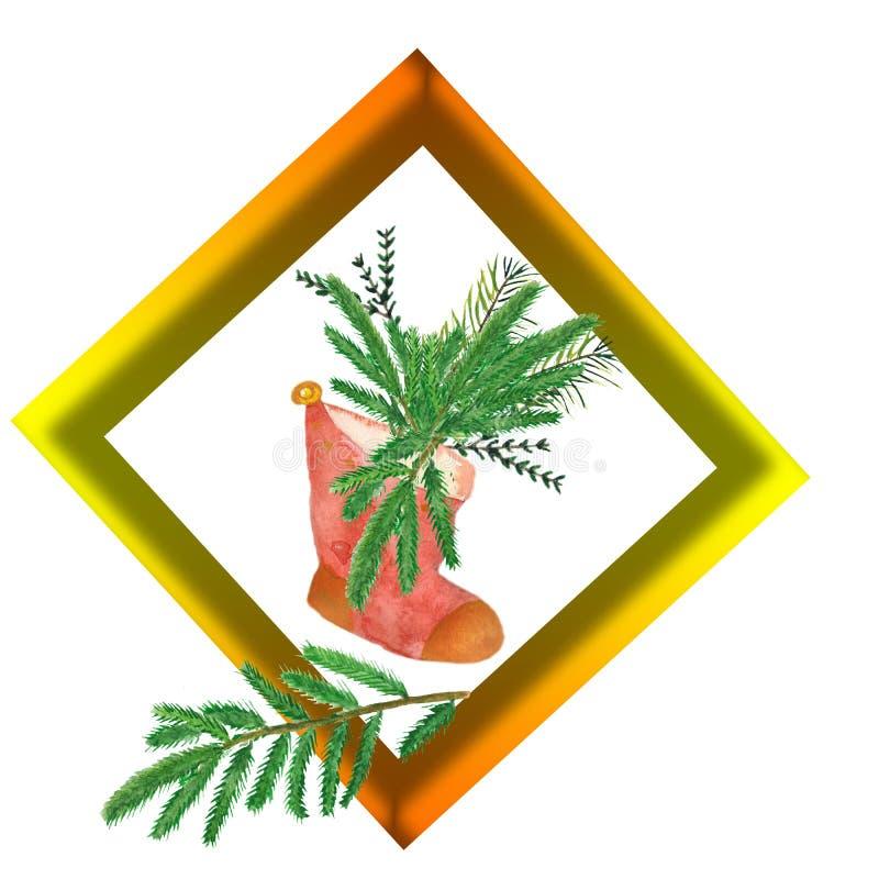Рамка акварели квадратная с елевыми ветвями в красном ботинке бесплатная иллюстрация