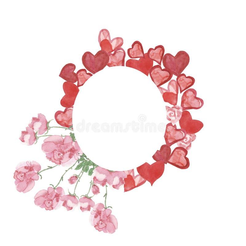 Рамка акварели круглая для дня Валентайн, красных сердец и розовых роз на белой предпосылке, руке покрашенной с сочной картиной с бесплатная иллюстрация