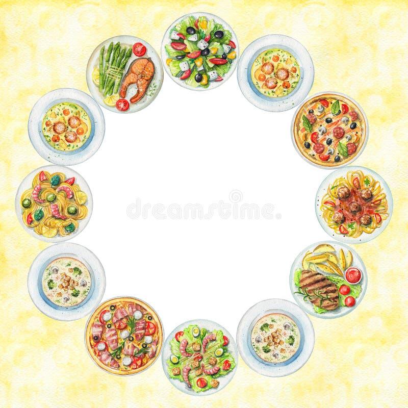 Рамка акварели круглая с плитами с едой иллюстрация вектора