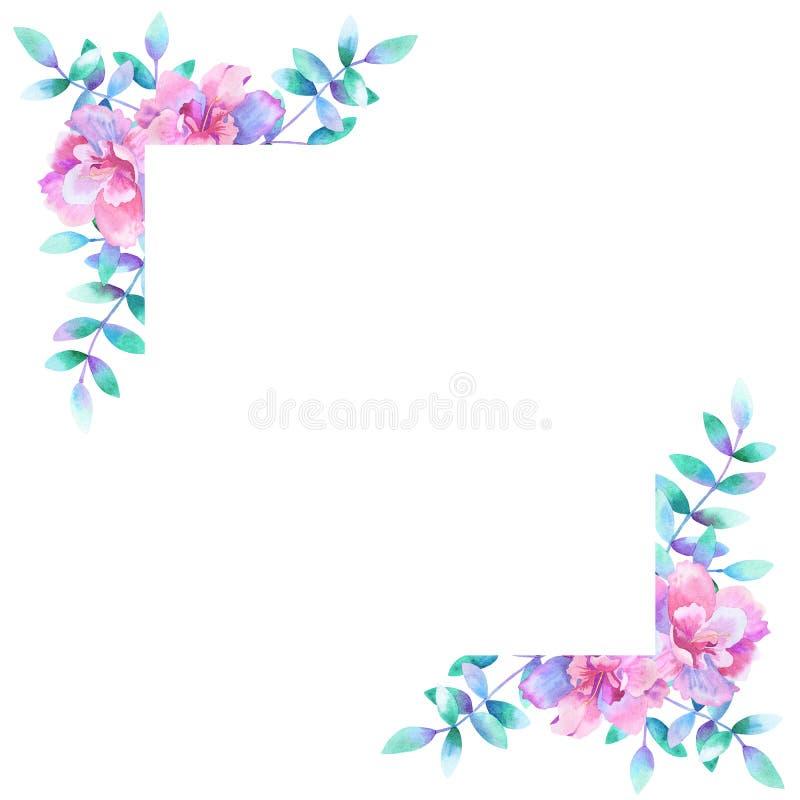 Рамка акварели прямоугольная флористическая : Улучшите для приглашений свадьбы, поздравительных открыток, естественных стоковое изображение rf