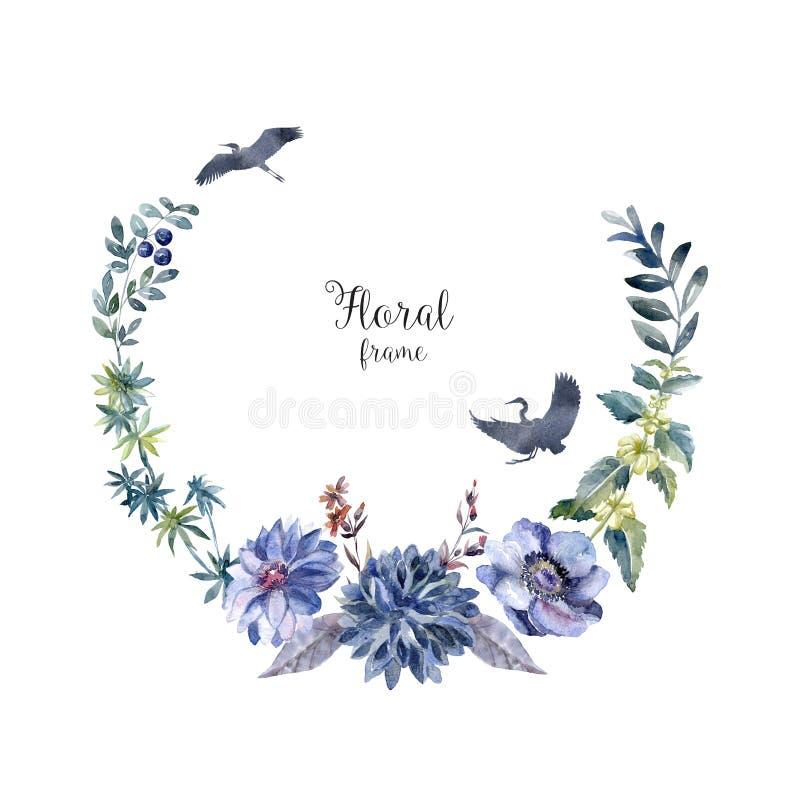Рамка акварели с животными и цветками Карточка леса иллюстрация штока