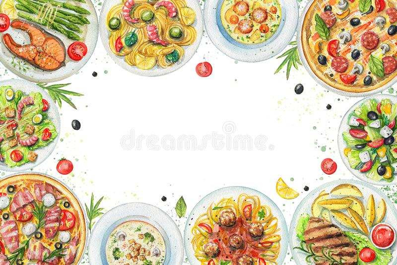 Рамка акварели с плитами с едой и овощами иллюстрация штока