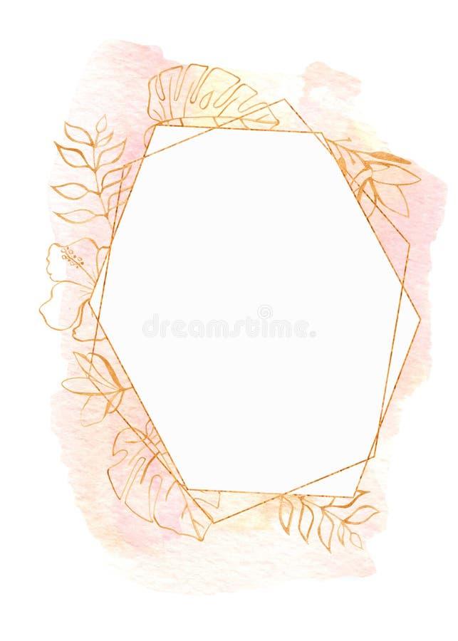 Рамка акварели с тропическими листьями и цветками, пятнами акварели бесплатная иллюстрация
