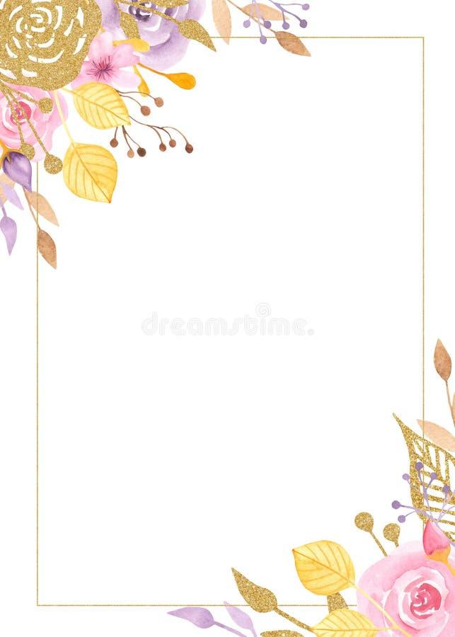 Рамка акварели с цветками, розами, листьями, золотыми заводами иллюстрация вектора