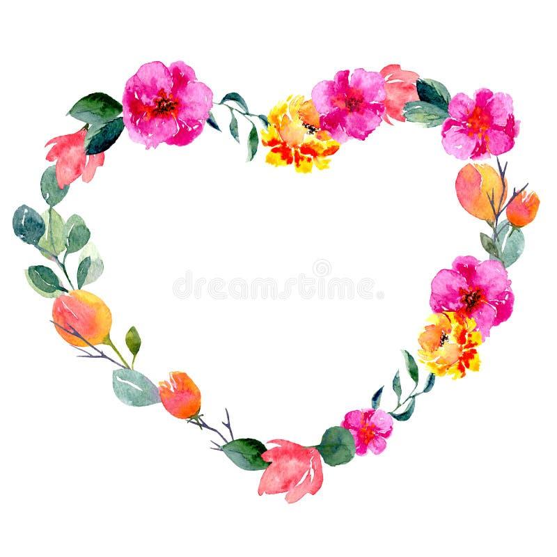 Рамка акварели флористическая в форме сердца Предпосылка с свежей листвой, яркими цветками и местом для текста бесплатная иллюстрация