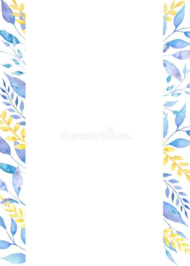Рамка акварели флористическая с листьями венчание романтичного символа приглашения сердец элегантности предпосылки теплое бесплатная иллюстрация