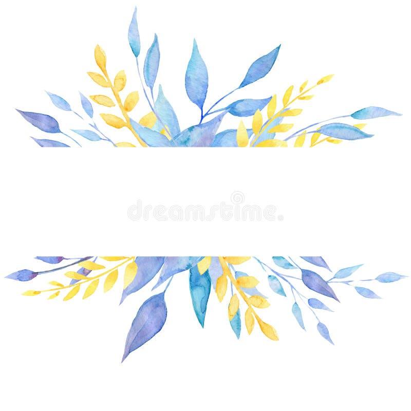 Рамка акварели флористическая с листьями венчание романтичного символа приглашения сердец элегантности предпосылки теплое иллюстрация штока