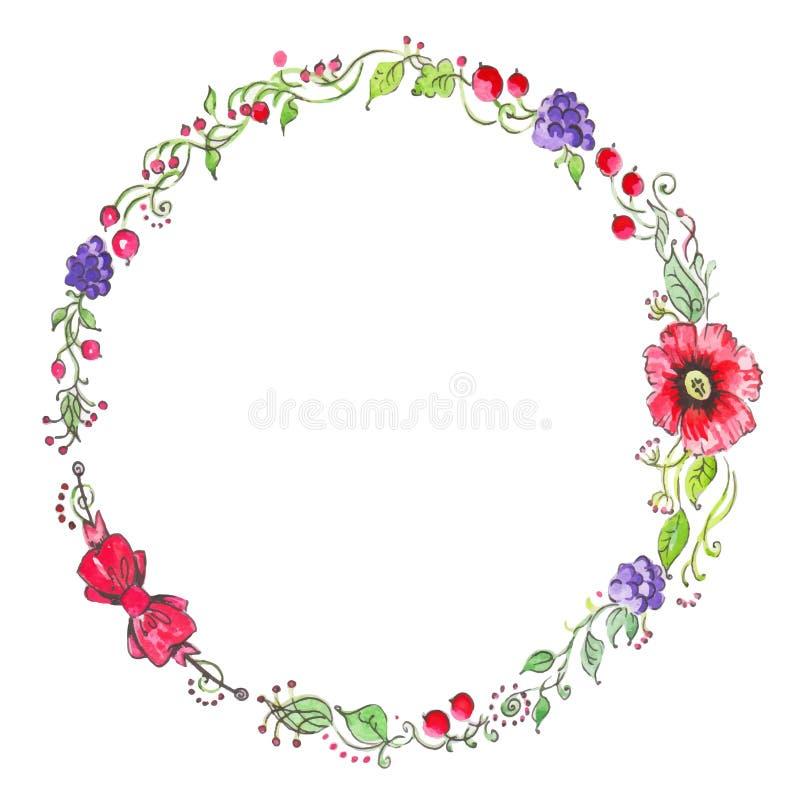 Рамка акварели красочная флористическая также вектор иллюстрации притяжки corel иллюстрация штока