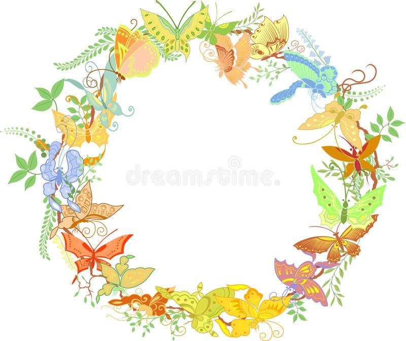 рамка бабочек засаживает кругом стоковое изображение rf