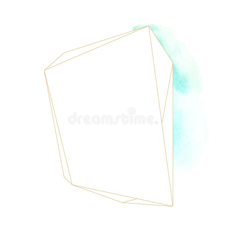 Рамка бирюзы акварели абстрактная геометрическая стоковая фотография
