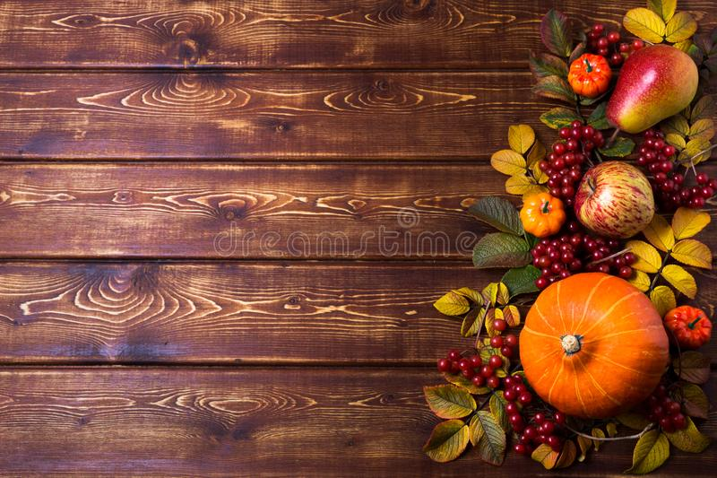 Рамка благодарения с оранжевыми тыквами, ягодами листьев плода шиповника падения, яблока, груши и калины на деревенской деревянно стоковое изображение