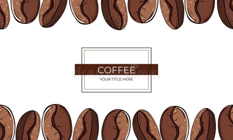 Рамка больших зажаренных в духовке кофейных зерен на белой предпосылке иллюстрация штока