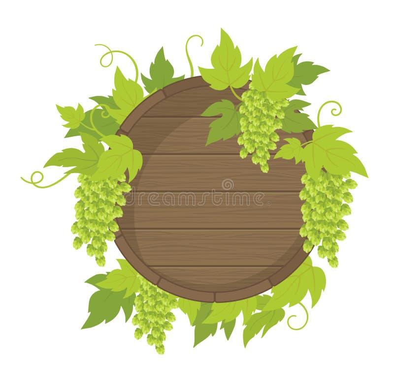 Рамка бочонка завода хмеля Деревянный бочонок пива Место для имени или логотипа текста Листья и конусы зеленого цвета хмеля r иллюстрация вектора