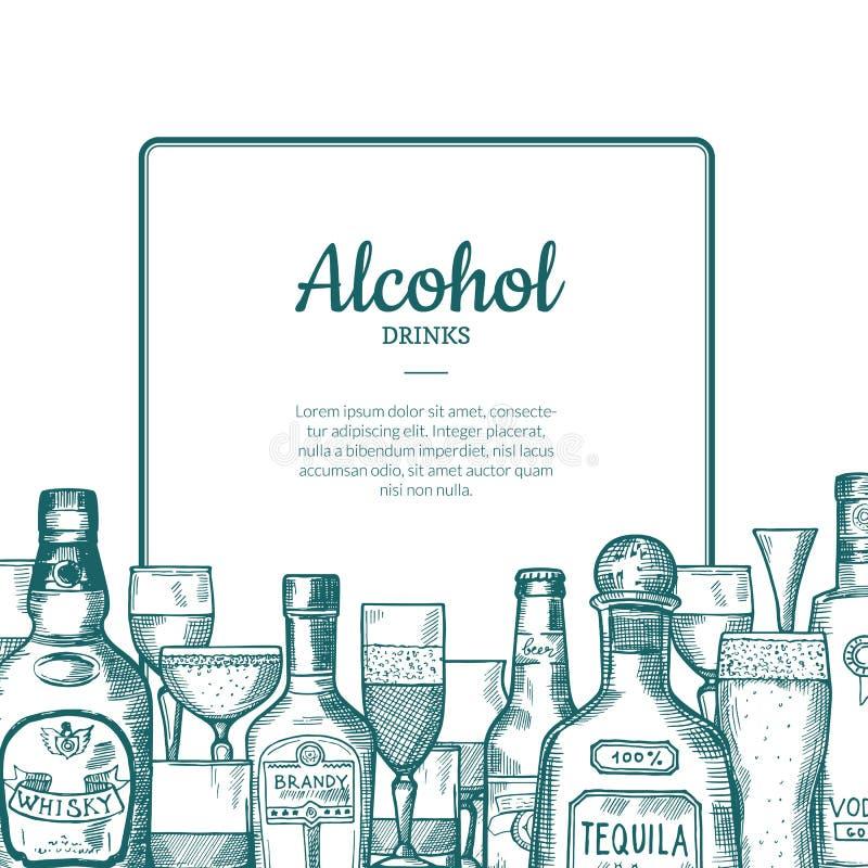 Рамка бутылок и стекел питья спирта вектора нарисованная рукой с местом для текста с внизу иллюстрацией иллюстрация штока