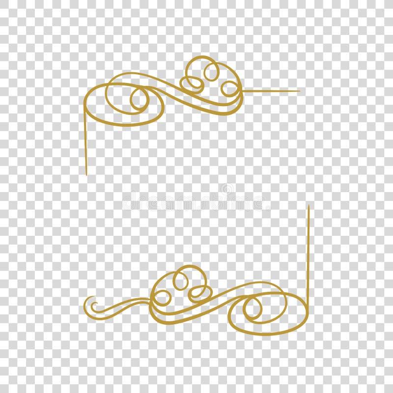 Рамка вектора золотая изолировала, пустая граница, филигранный каллиграфический шрифт иллюстрация штока