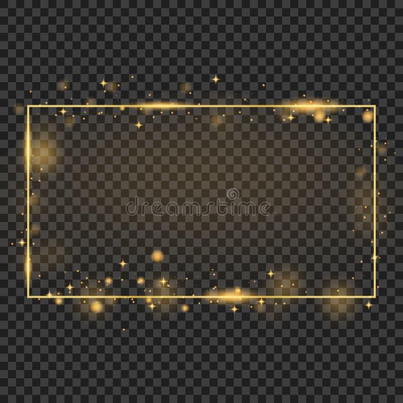 Рамка вектора золотая с световыми эффектами Сияющее знамя прямоугольника Изолированный на черной прозрачной предпосылке Иллюстрац иллюстрация штока