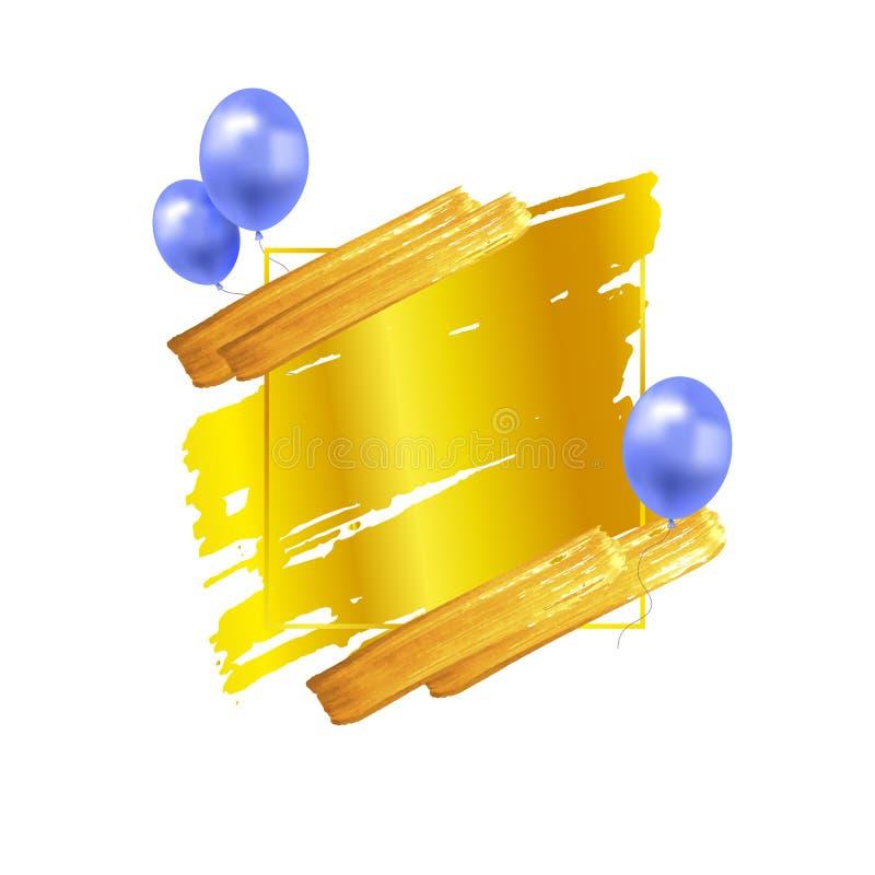 Рамка вектора золотая с ходами кисти и голубыми воздушными шарами, концепцией торжества, предпосылкой праздника, пустой квадратно иллюстрация вектора
