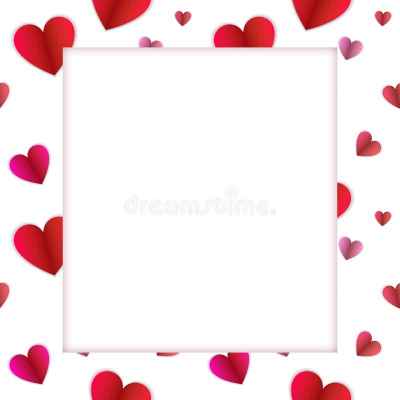 Рамка вектора красочная, бумага картины сердец и белый космос для фото, пустой границы иллюстрация вектора