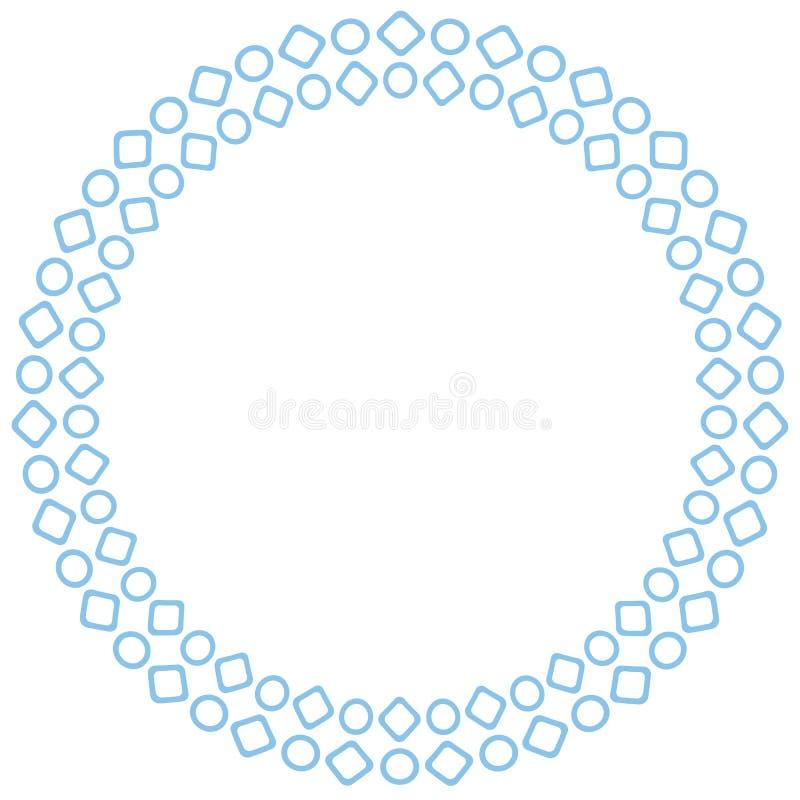Рамка вектора круглая с геометрической картиной кругов и квадратов Геометрическая голубая картина Дизайн открыток, буклетов бесплатная иллюстрация