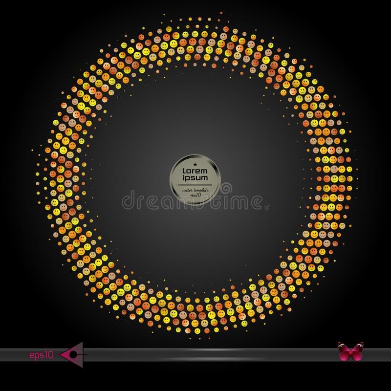 Рамка вектора круглая Предпосылка картины элемента абстрактного полутонового изображения графическая иллюстрация вектора