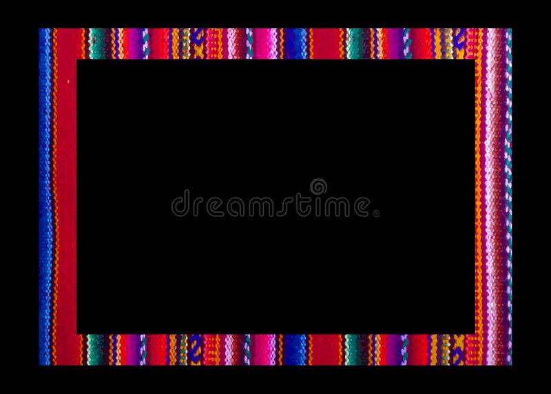 Рамка вектора мексиканская изолированная на черной предпосылке Красочная граница в вышивке стиля навахо, тканей Латинской Америки бесплатная иллюстрация