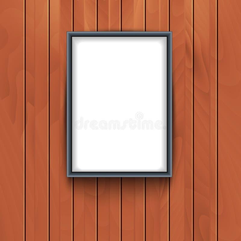 Рамка вектора на деревянной предпосылке стены Выставка рамки искусства фото декоративная пустая бесплатная иллюстрация