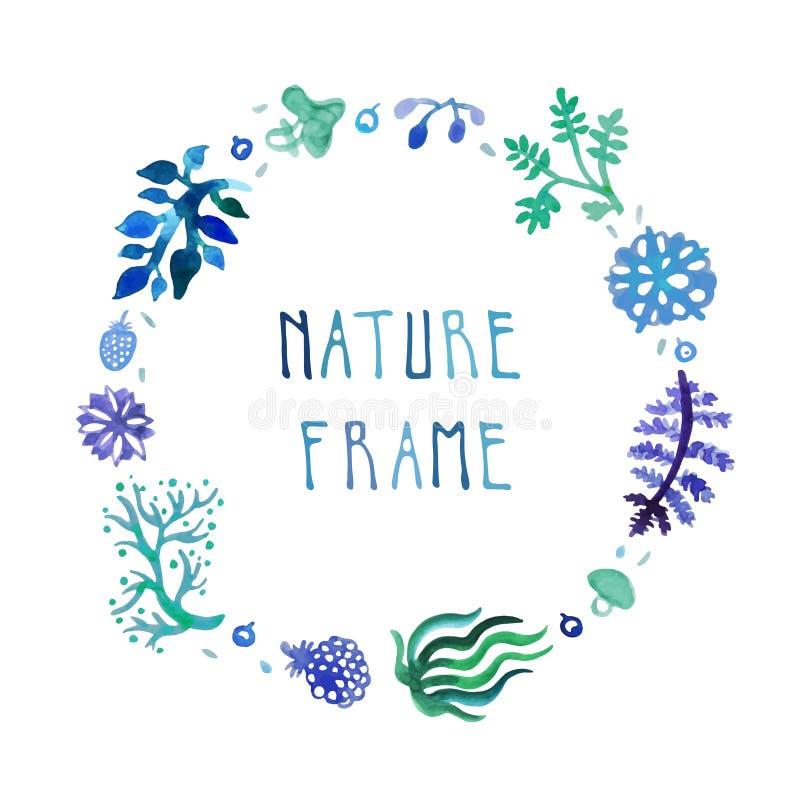 Рамка вектора природы акварели с рукописным текстом с цветками, ягодами и заводами бесплатная иллюстрация