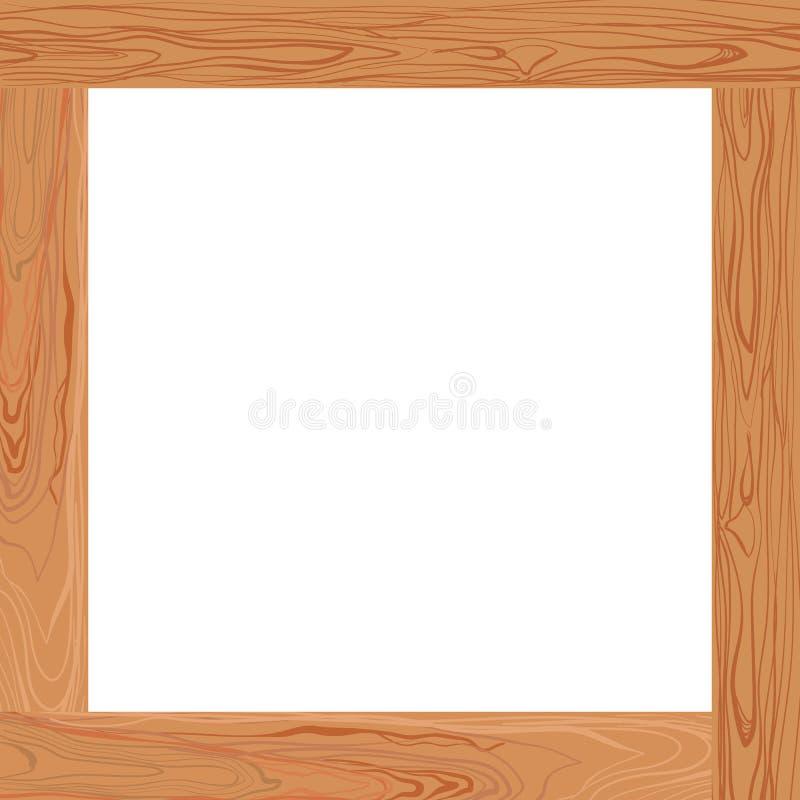 Рамка вектора русая деревянная, пустая граница иллюстрация штока