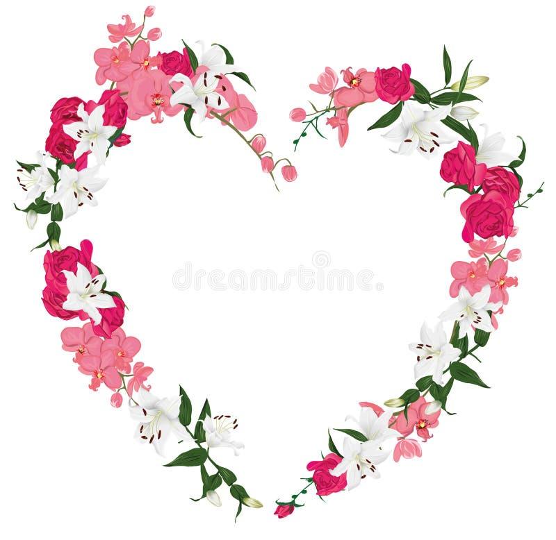 Рамка вектора сердца флористического орнамента иллюстрация вектора
