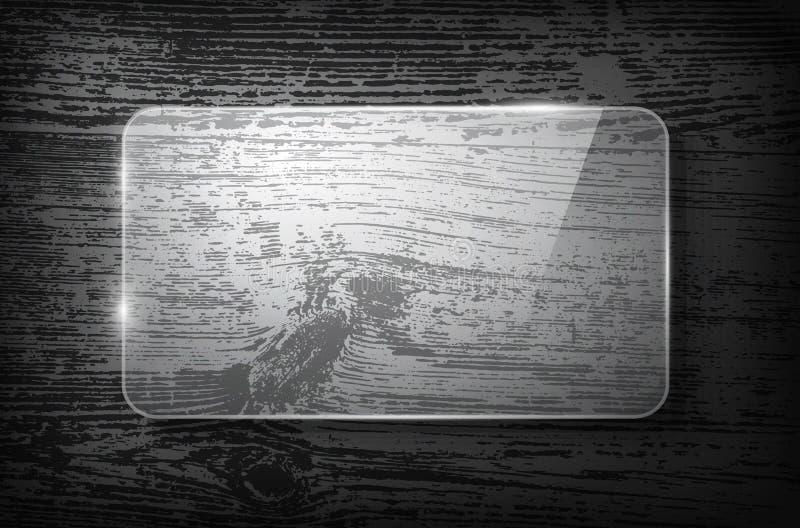 Рамка вектора стеклянная на винтажной деревянной предпосылке иллюстрация штока