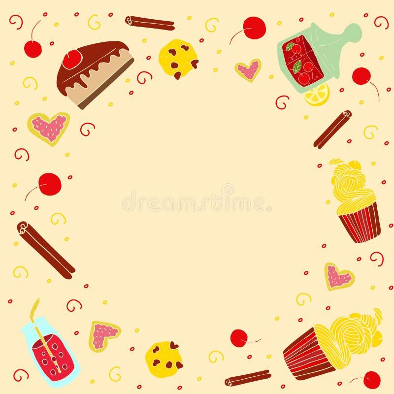 Рамка вектора с веществом нарисованным рукой сладостным бесплатная иллюстрация