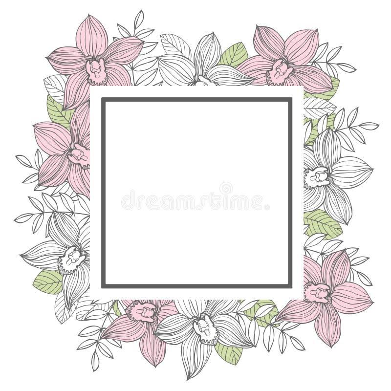 Рамка вектора с орхидеями нарисованными рукой бесплатная иллюстрация