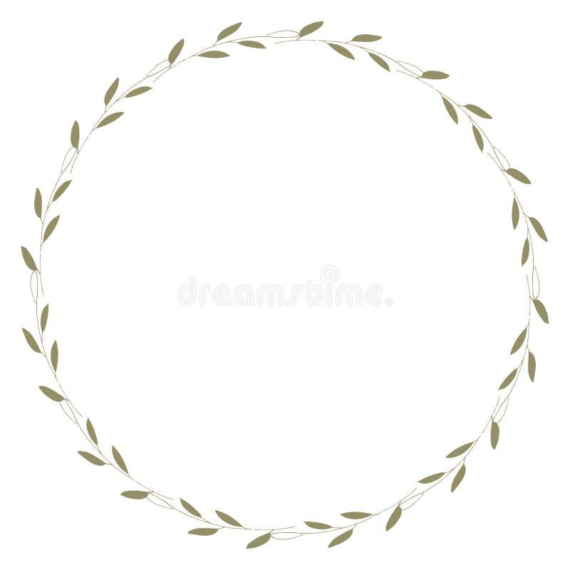 Рамка вектора флористическая Рамки круглой руки вычерченные флористические на белой предпосылке Элементы дизайна для карт свадьбы стоковое фото