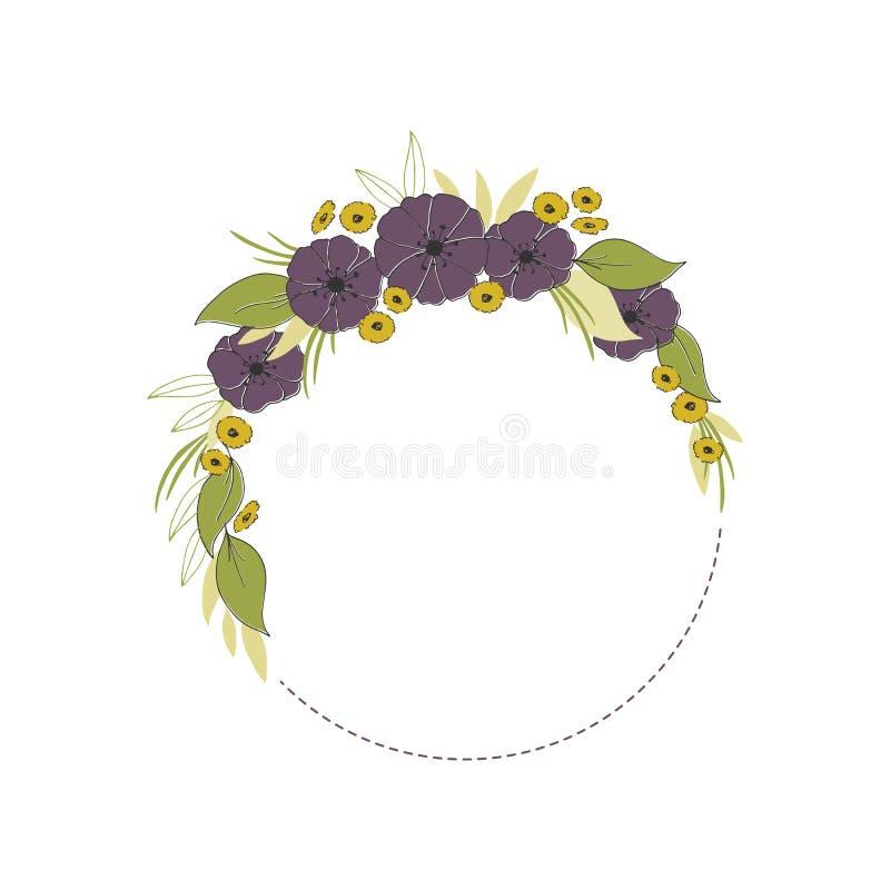 Рамка вектора флористической нарисованная рукой Цветки и листья в круглом расположении иллюстрация вектора